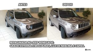 Repaginada no Jeep Renegade: grade externa, molduras cromadas, luz de neblina e capas |Customizing Jeep Renegade: external front grill, chrome frames, fog light and covers